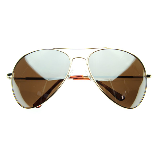 Large Metal Aviators Mirrored Aviator Sunglasses