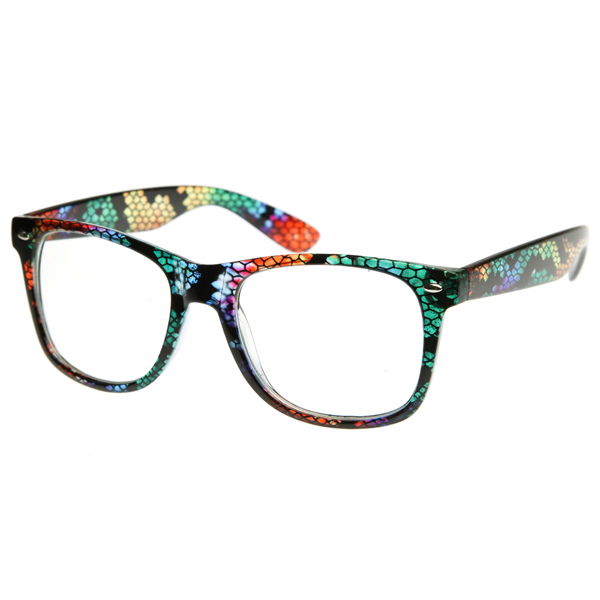 zeroUV Multicolored Animal Print Fashion Clear Lens Wayfarers Style Glasses Eyewear at Sears.com