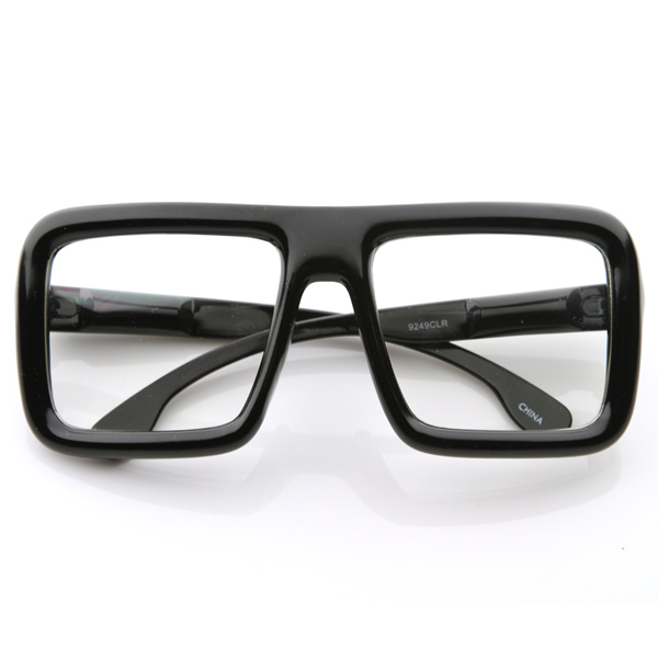 Large Retro-Nerd Bold Thick Square Frame Clear Lens ...