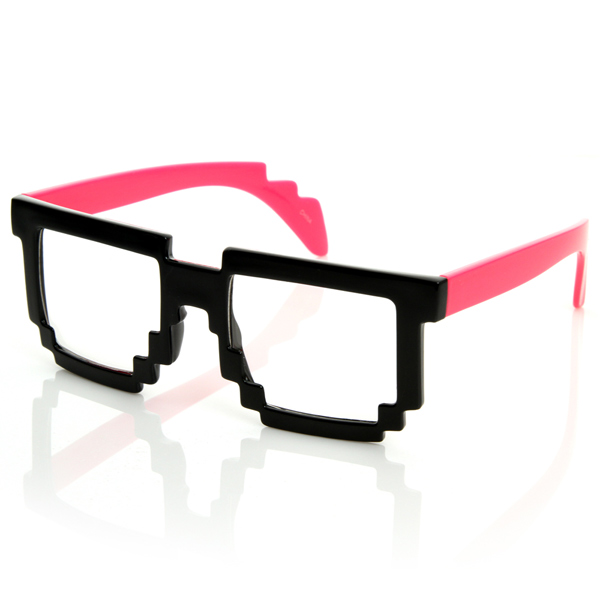 Futuristic-Novelty-Nerd-Geek-Gamer-Colorful-2-Tone-Clear-Lens-Pixel-Glasses