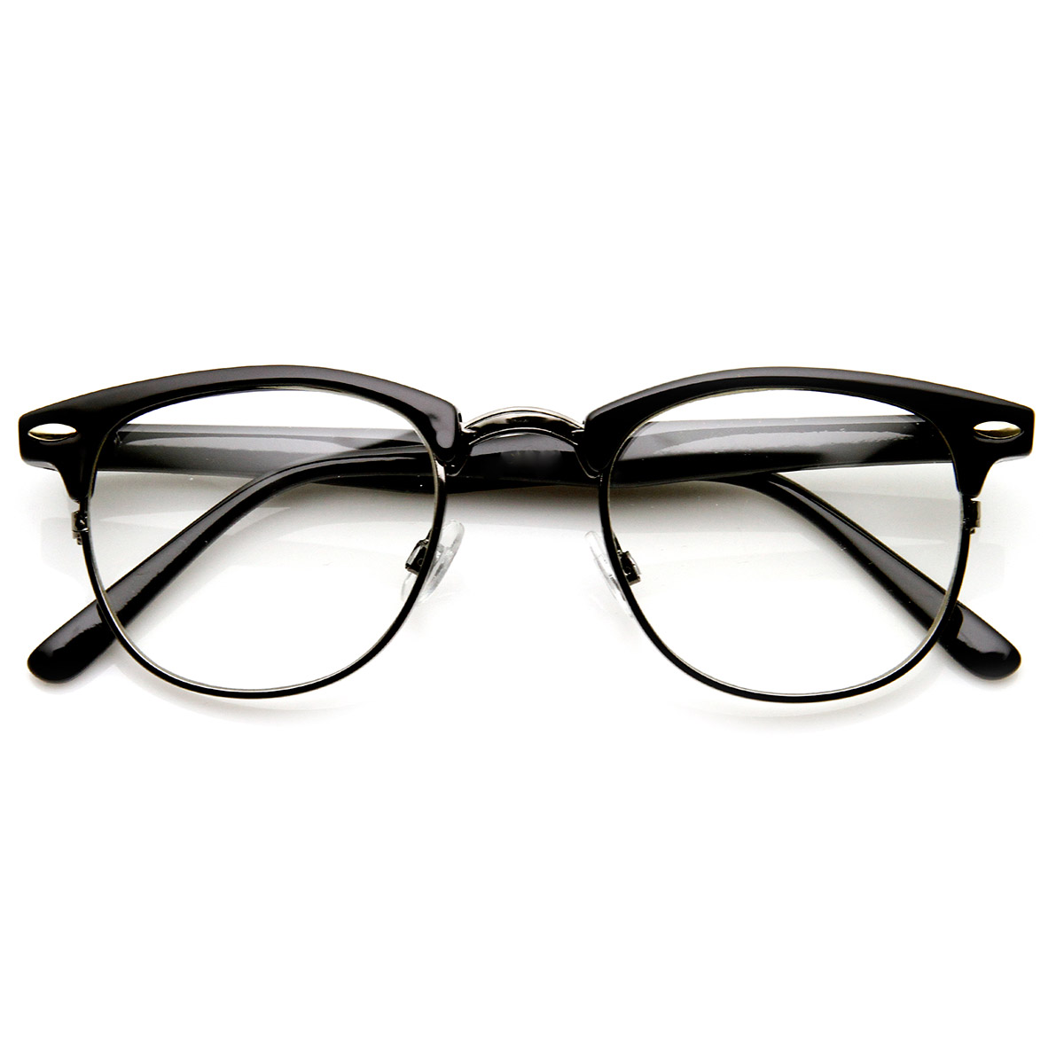 Half Frame Fake Glasses : Optical Quality Horned Rim Clear Lens RXAble Half Frame ...