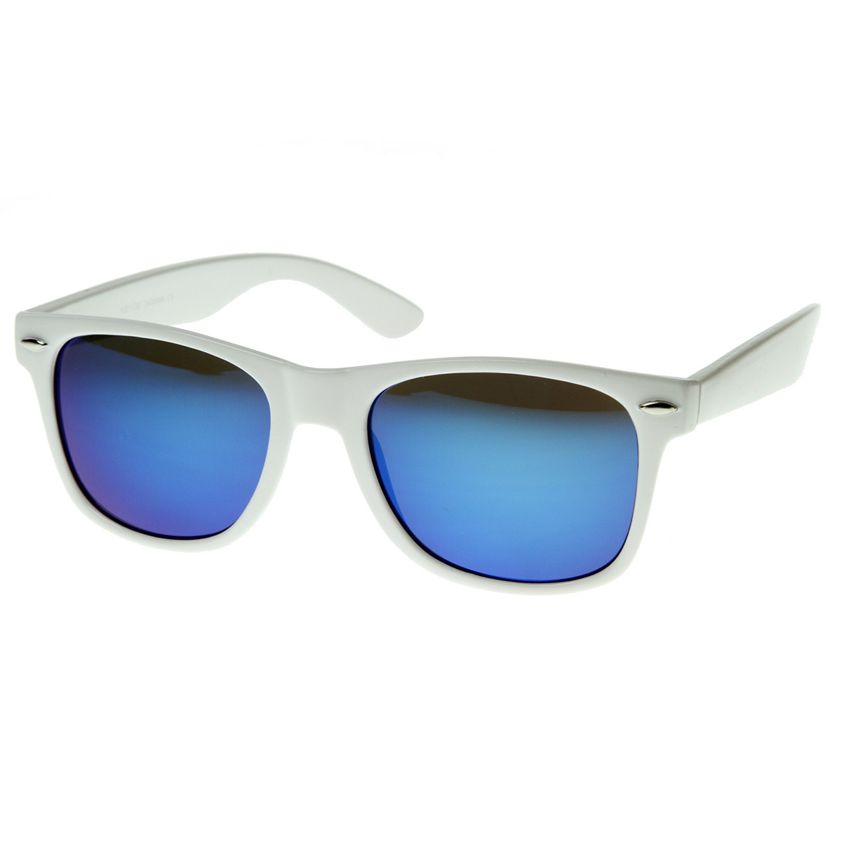 Hipster Fashion Revo Color Mirror Lens Horn Rimmed Style Sunglasses White