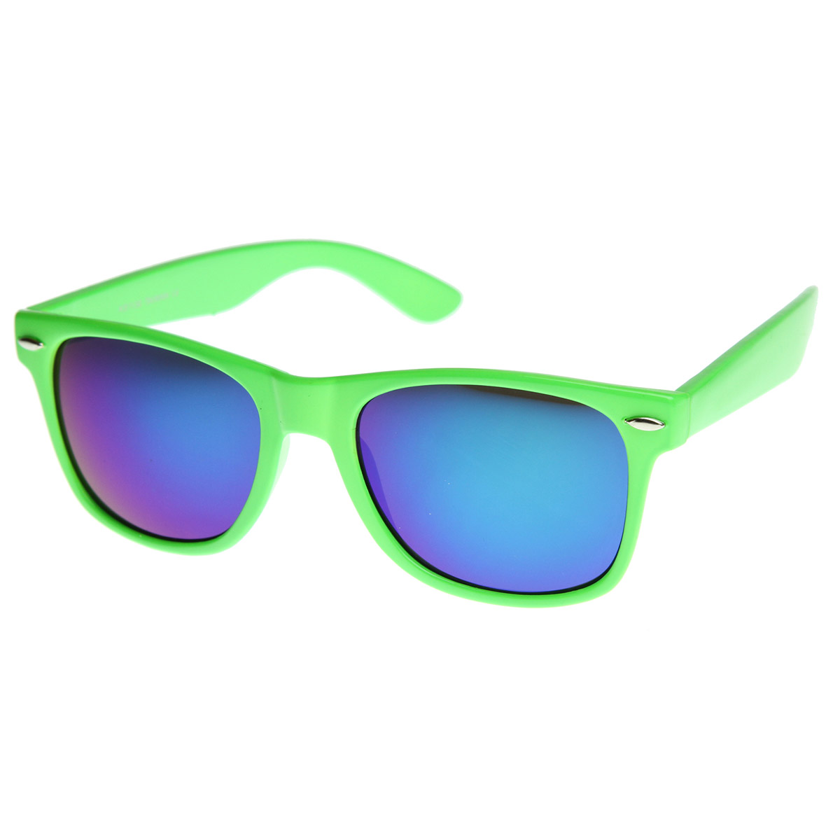 afb259e88ec Retro Bright Horn Rimmed Sunglasses with Colorful Mirrored Lenses - UV400