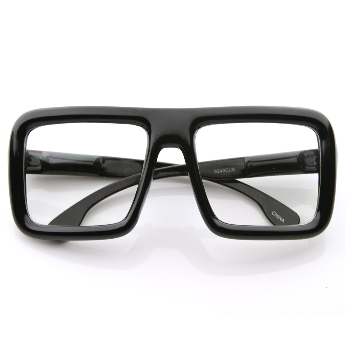 large retro bold thick square frame clear lens