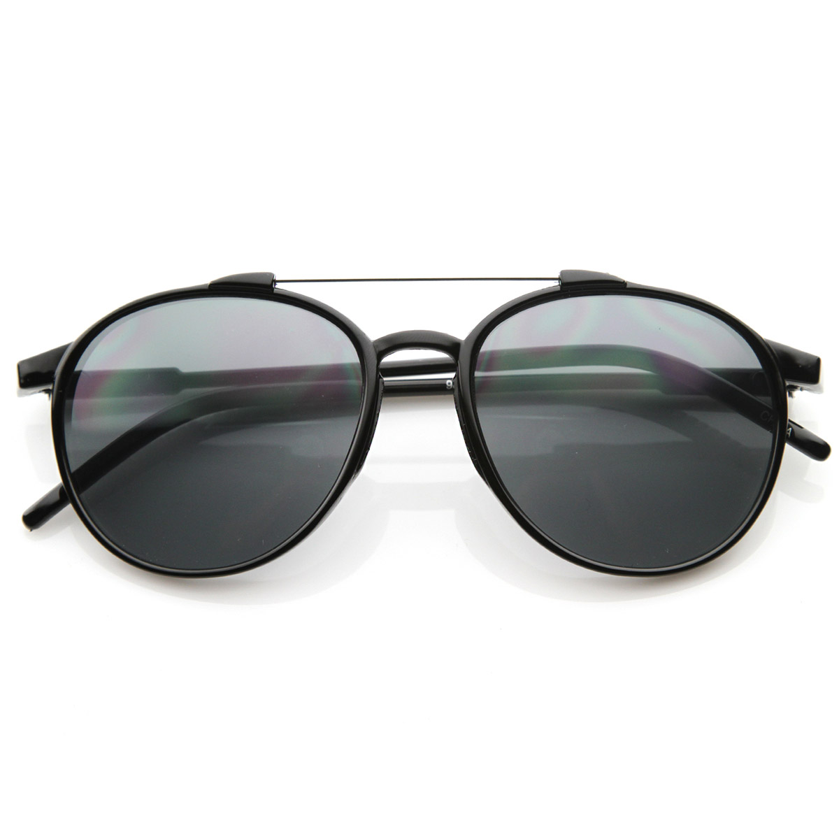 Vintage Inspired Fashion Classic Round Aviator Sunglasses with Metal Cross Bar