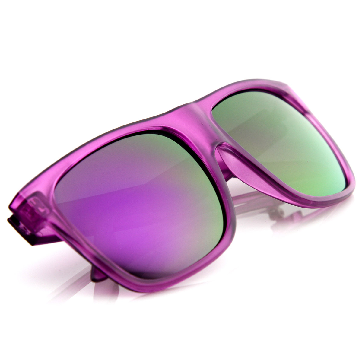 Retro-Fashion-Frosted-Color-Horn-Rimmed-Style-Sunglasses-w-Color-Mirror-Lens