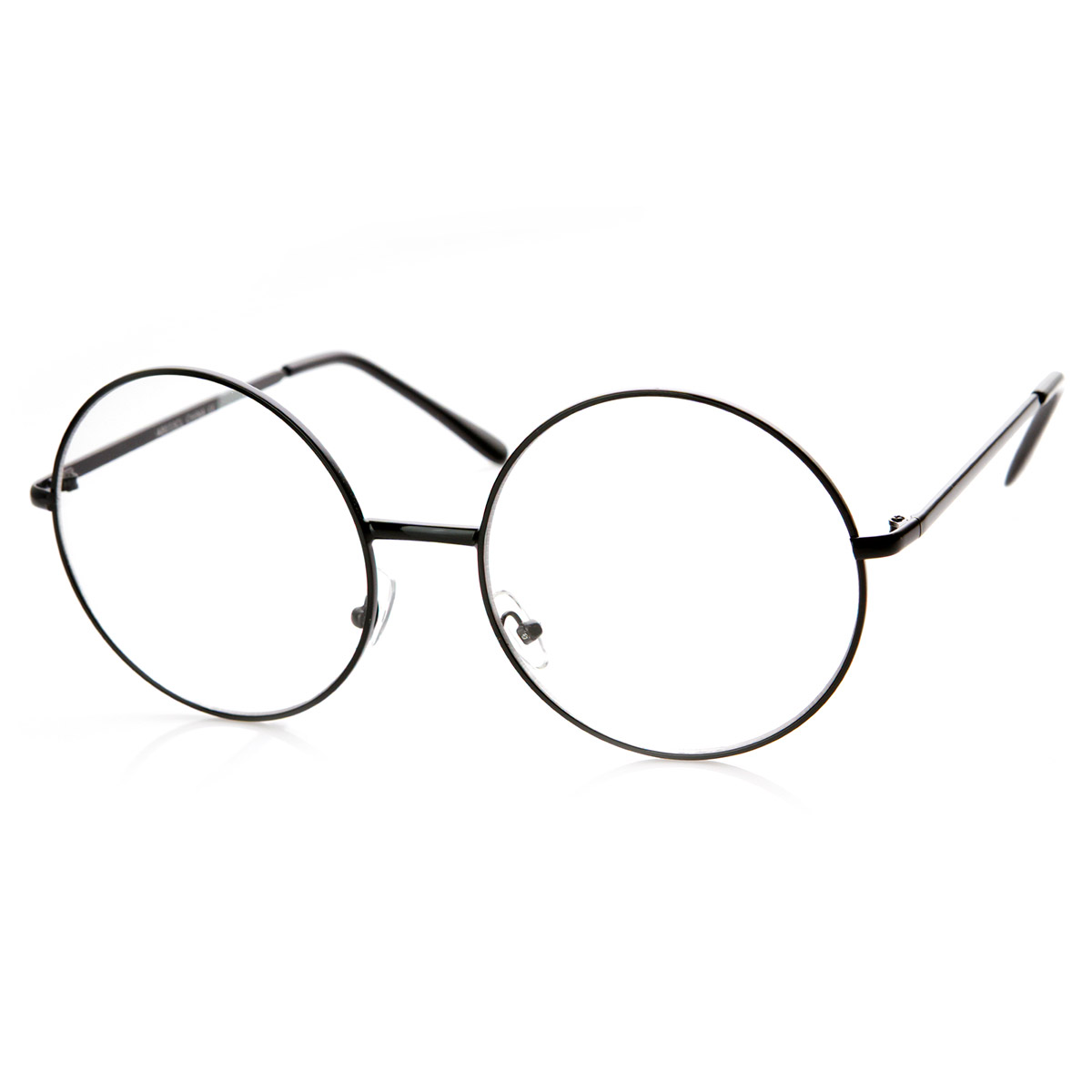 Large Oversized Metal Frame Clear Lens Round Circle Eye ...