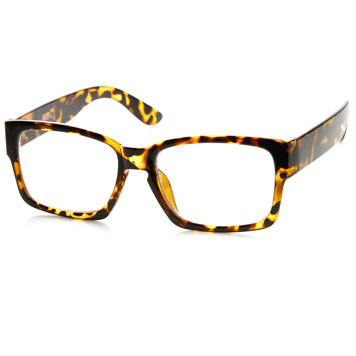 Retro Fashion Bold Thick Modified Rectangular Clear Lens ...