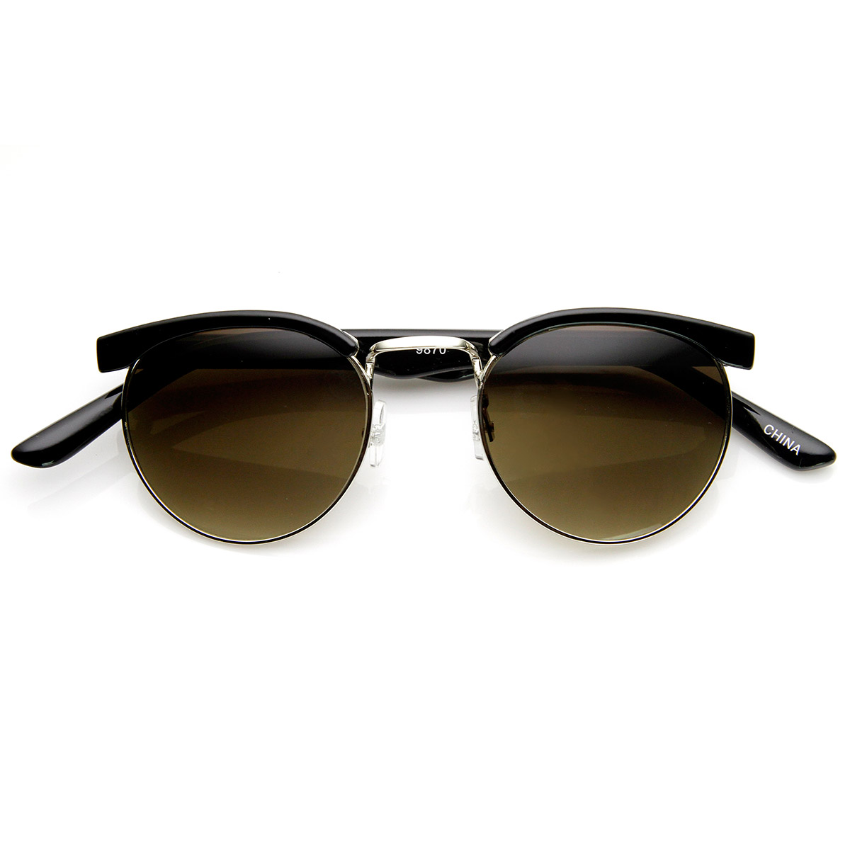 Small Retro Fashion Half Frame Circle Round Sunglasses eBay