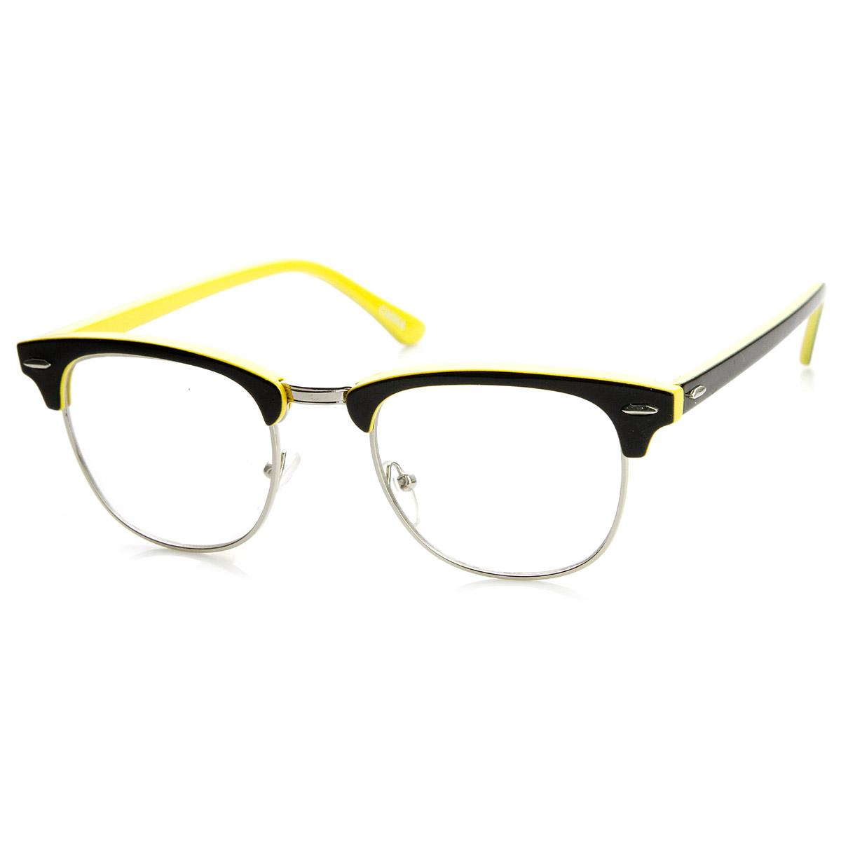 Two-Tone Colorful Half Frame Clear Lens Horn Rimmed ...