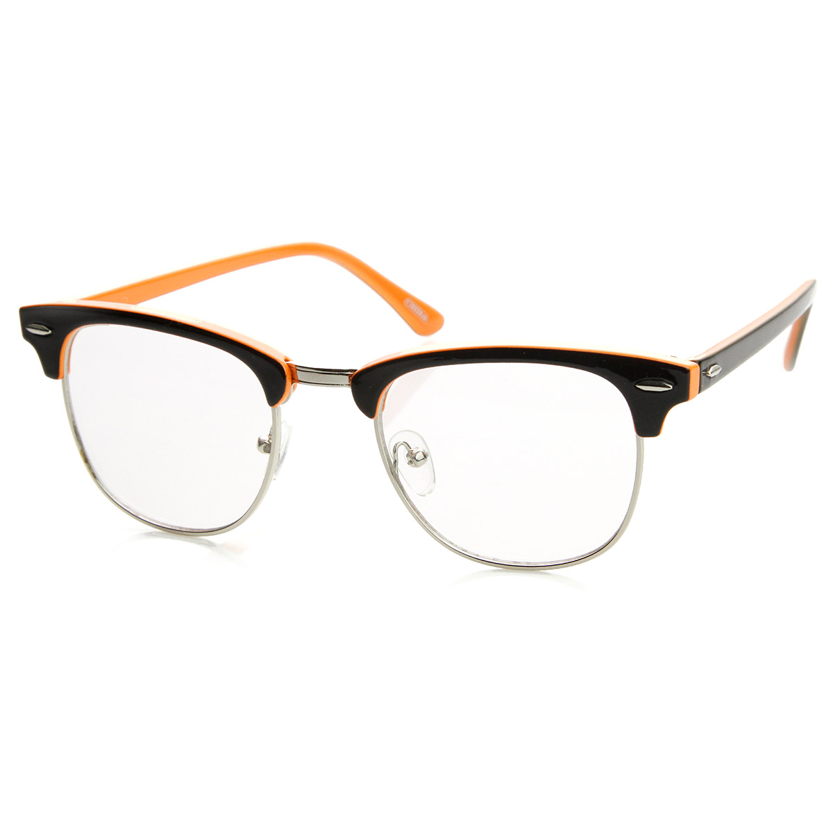 Eyeglass Frames Two Tone : Two-Tone Colorful Half Frame Clear Lens Horn Rimmed ...