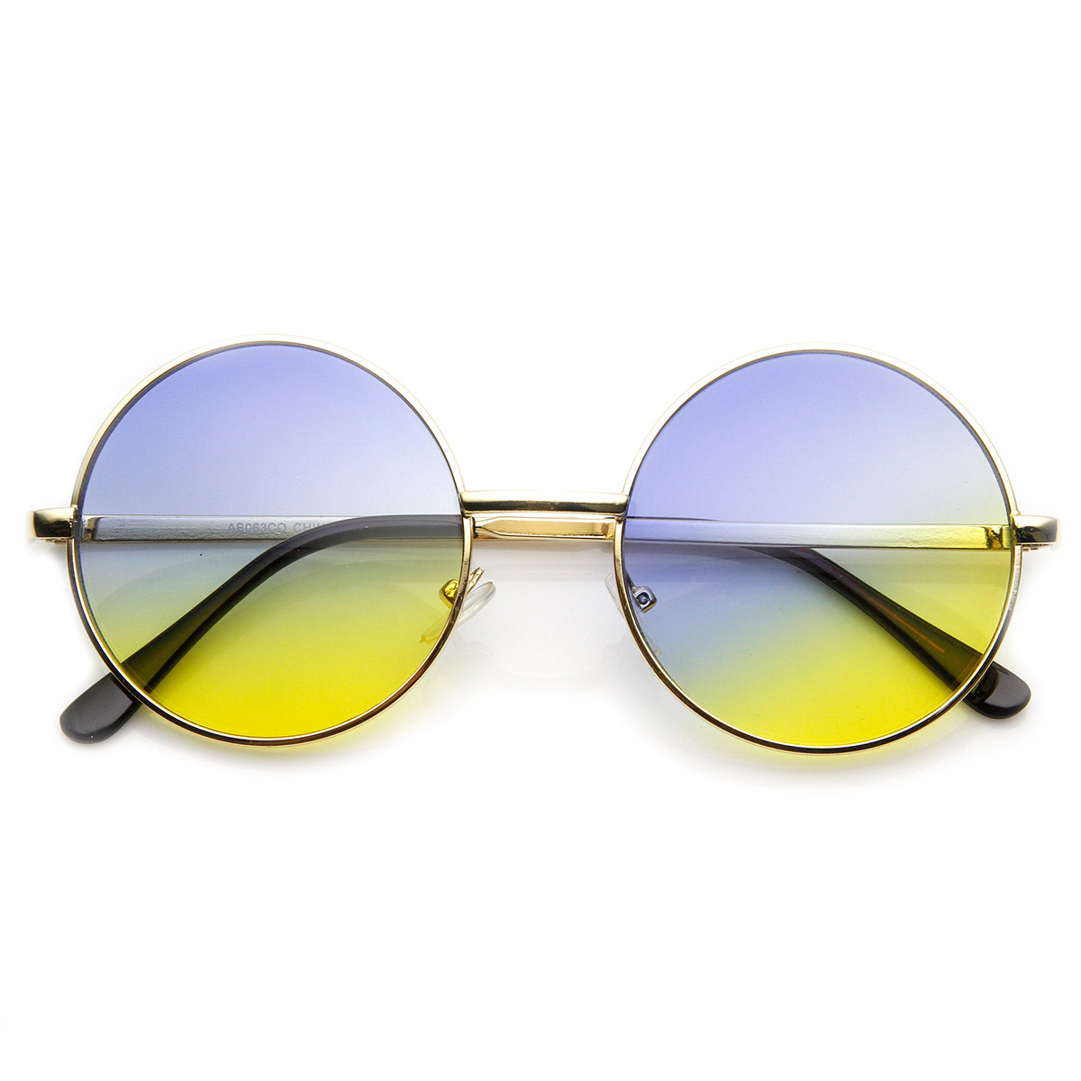 mid sized metal lennon style color tinted sunglasses