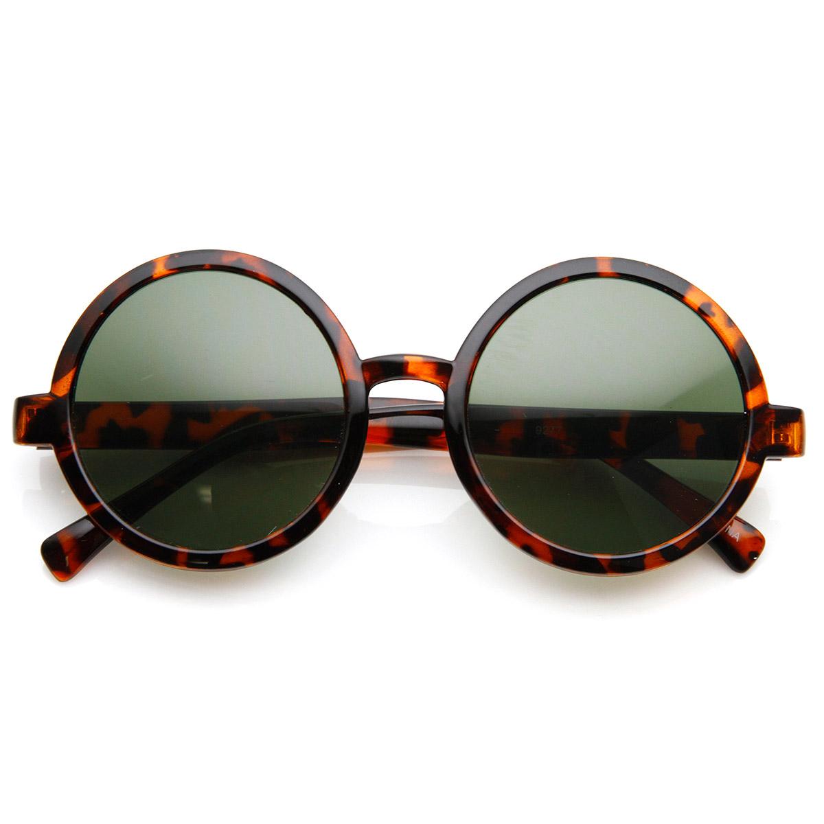 sunglassla Klassisch retro Stil glänzend Plastik runde Sonnenbrille ...