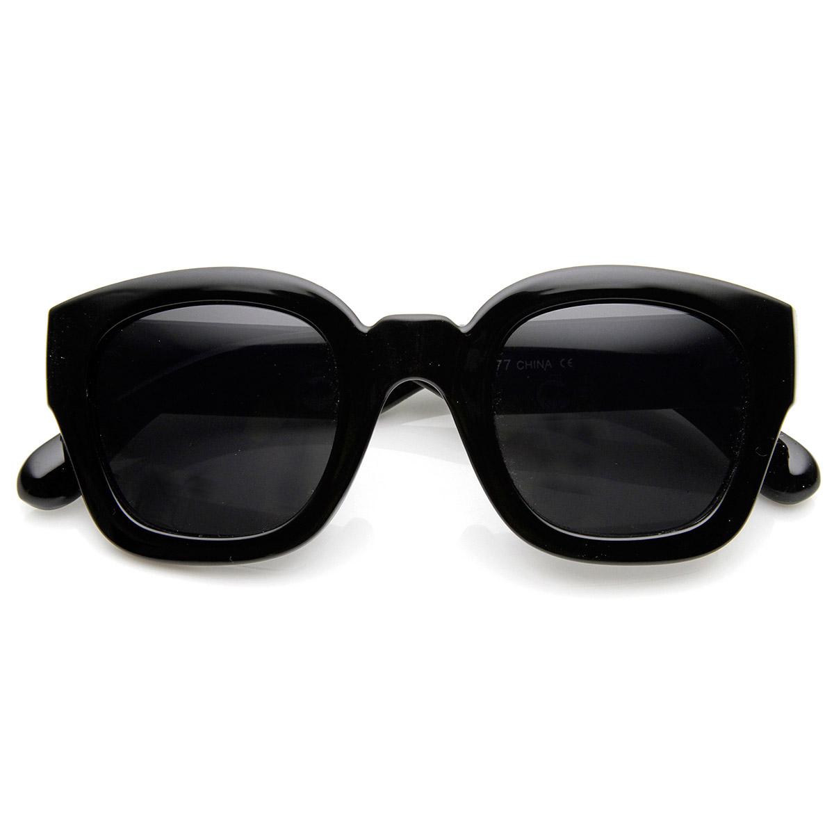 sunglassLA Bold Rim Thick Frame Retro Square Frame Sunglasses | eBay
